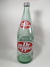 Vintage Dr. Pepper Glass Bottle Large 32 Ounce 1 Quart with Cap Light Green Soda