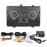 Amplifier Preamp Karaoke Reverb Sound Mixer Dual Mic Inputs For Stage Home KTV