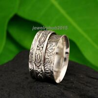 Wide Band Spinner Ring,925 Sterling Silver Ring for Women, Fidget Meditation D44
