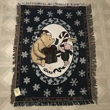 "Goodwin Weavers Disney Classic Pooh Christmas Tapestry Throw Blanket 45""x 34"""