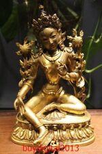"""7"""" Old Tibet Temple Bronze Gild Gold Green Tara Guanyin Bodhisattva Buddha"""