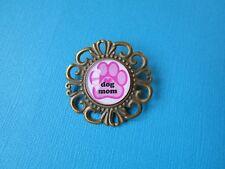 "Handmade ""Dog Mom"" Brooch Badge Puppy Glass Bronze Tone Pin Pink Paw Print"