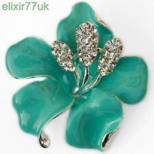 NEW SILVER FLOWER BROOCH BLUE ENAMEL DIAMANTE CRYSTAL LILY PIN ROSE BADGE BROACH