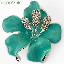 NUOVO Argento Fiore Spilla Blu Smalto diamante cristallo Lily Rose pin badge spilla