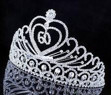 ABt807 60-Year-Old Birthday Party Austrian Rhineston Tiara Crown Hair Combs