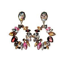 Boucles d`Oreilles Clous Anneau Rouge Rose Ambré Coquille Original Cadeau AA 6