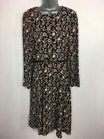 WOMENS M&S LIMITED COLLECTION PURPLE MIX FLORAL LONG SLEEVE BELTED DRESS UK 10