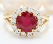 3.42 Carat Natural Red Ruby and Diamonds in 14K Solid Yellow Gold Women Ring