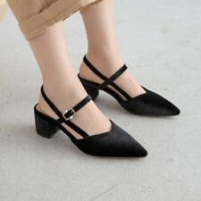 Retro Ladies Velvet Buckle Mary Jane Chunky Pointed Toe Slingback Mid Heels Shoe