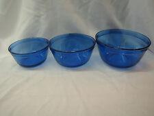 ANCHOR HOCKING COBALT BLUE NESTING SET 3 GLASS MIXING BOWLS 2.5,1.5,1qt SIZES