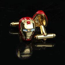 RED Ironman Gemelli Uomo Camicia Business Manica Polsino Collegamento nella scatola regalo UK Vendita