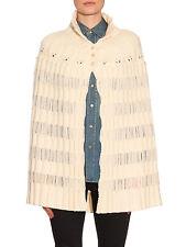 SAINT LAURENT by Hedi Slimane $2,100 ivory white knit wool sweater cape coat NEW