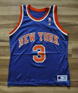 JOHN STARKS NEW YORK KNICKS NY NBA BLUE Champion Jersey 40 MEDIUM