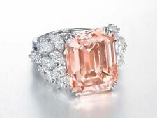 Cut White Marquise Beautiful Cocktail Cz* Ring 925 Sterling Silver Pink Emerald