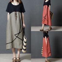 Summer Womens Cotton Linen Loose Casual Boho Maxi Oversize Retro Long Dress 2XL