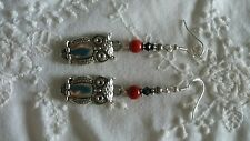 Owl Dangle Earrings  With Black Swarovski Red Coral Sterling  Silver Ear  Wires