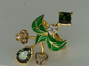 Antique Russian 14K Gold Diamonds Demantoids Green Enamel Ring