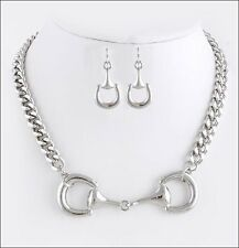 NEW Chunky Equestrian Horse Bit Necklace Designer Inspired SILVER Tone