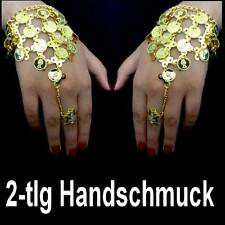 2x Bollywood Bauchtanz Belly Dance Handschmuck Sklavenarmband Goldmünzen