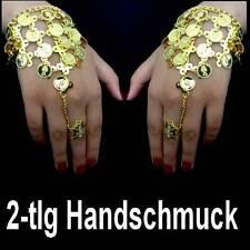 2x Bollywood Bauchtanz Belly Dance Handschmuck Sklavenarmband Goldmünzen