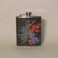 Don Ed Hardy Koi Goldfish Leather Wrapped Flask