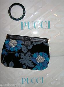 EMILIO PUCCI Leather HANDBAG Purse Clutch Bag Velvet Blue Floral MINT VINTAGE A+
