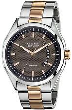 Citizen Eco-Drive Men's Rose Gold Tone Bracelet 40mm Watch AW1146-55H