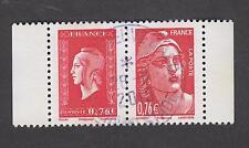 Paire oblitérée Gandon et Dulac venant du carnet Marianne de la Libération 2015
