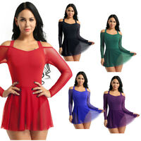 Women Lyrical Dress Unitards Contemporary Leotard Skirt Ballet Dancewear Costume