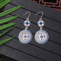 Retro Bohemian Boho Style Color Flower Shape Carved Ear Drop Ethnic Earrings
