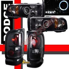 94-01 Dodge Ram Pickup Halo Projector Headlights Tail Lights Black / Dark Smoke
