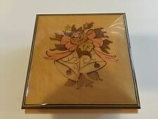 Vintage Inlaid Flower Wooden Reuge Music Jewelry Box, Made in Italy