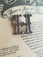 Letter H marcasite and sterling silver vintage brooch pin 925 stamped CI Initial
