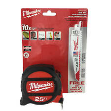 "Milwaukee 48-22-5126P 25Ft Tape Measure + 6"" Reciprocating Saw Blades 48-00-5021"