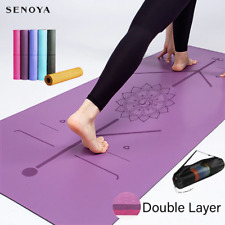 Yoga Mat Double Layer Non-Slip Exercise Pad Position Line For Fitness Pilates