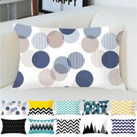 New Velvet Lumbar Rectangle Geometry Pillow Case Sofa Cushion Cover Home Decor