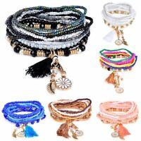Fashion Boho Style Charm Beads Ethnic Multilayer Wristband Bracelet NineGu