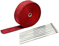 """Exhaust Header Heat Wrap, 2"""" x 50' Roll Stainless Steel Zip Cable Ties Red"""