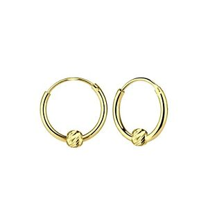 Yellow Gold Plated diamond ball Sterling Silver Hoop Earrings 12mm