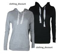 ladies hoodie pullover gym top plain black gray size 8 10 12 14 16 18 20 22 24
