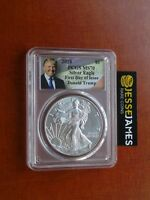 2018 SILVER EAGLE PCGS MS70 DONALD TRUMP FIRST DAY OF ISSUE FDI LABEL