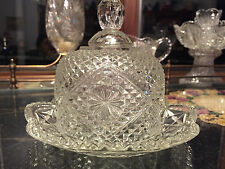 Vintage Pressed Glass Round Butter 2 Pc Dish