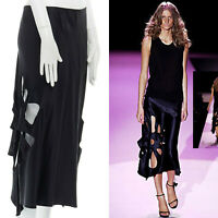 runway GUCCI TOM FORD Vintage SS02 100% silk black flower cut out skirt IT42
