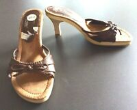 New Chinese Laundry Brown Slides Slip On Bow Heels Sandals Shoes Size 8.5