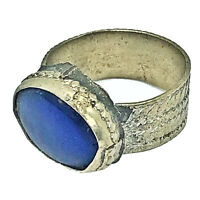 Antique Medieval Style Ring With Blue Stone European Old Artifact Type Jewelry