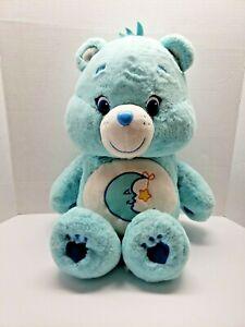 "Care Bears Just Play Bedtime 2015 Bear Light Blue Moon Stars Plush 18"" -20"""