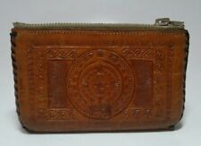 Vintage Mexico Brown Leather Coin Purse Stitched Edge Zip Closure 4 inches Snaps