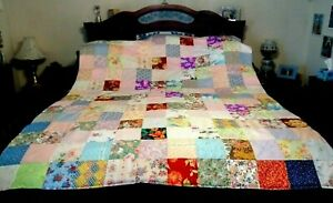 COUNTRY COTTAGE BEAUTIFUL SPRING FLORAL GARDEN QUEEN SIZE PATCHWORK QUILT - NEW