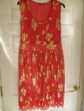 Ladies Special Occasion Dress S 16 Orange Gold Pattern S/less lined machine wash