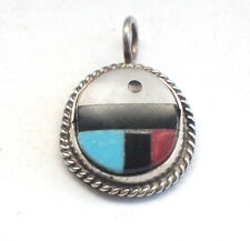 Round Navajo 925 Silver Abalone Shell Jet Red Green Turquoise Pendant Retro 3g